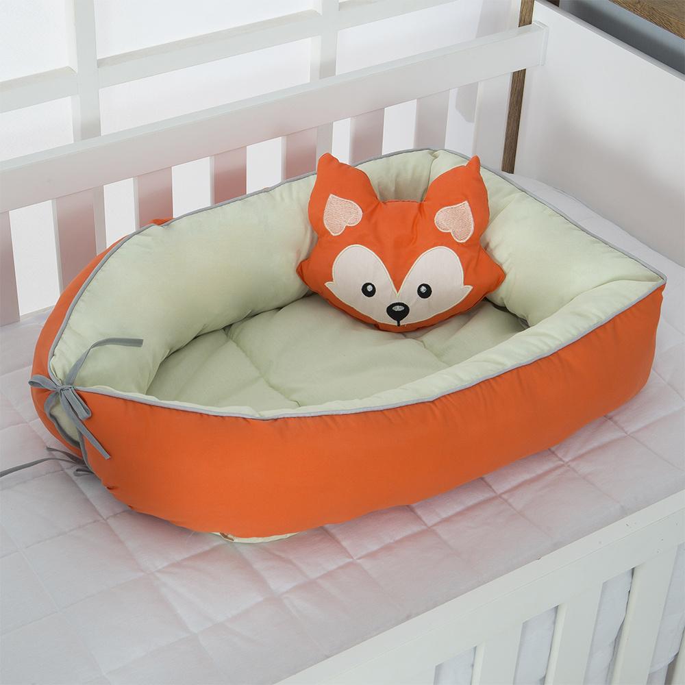 Ninho Para Bebê Redutor De Berco 02 Peças 70cm x 50cm 100% Algodão Menino Raposa - Verde