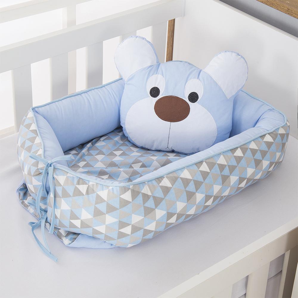 Ninho Para Bebê Redutor De Berco 02 Peças 70cm x 50cm 100% Algodão Menino Urso Dengoso - Azul Claro