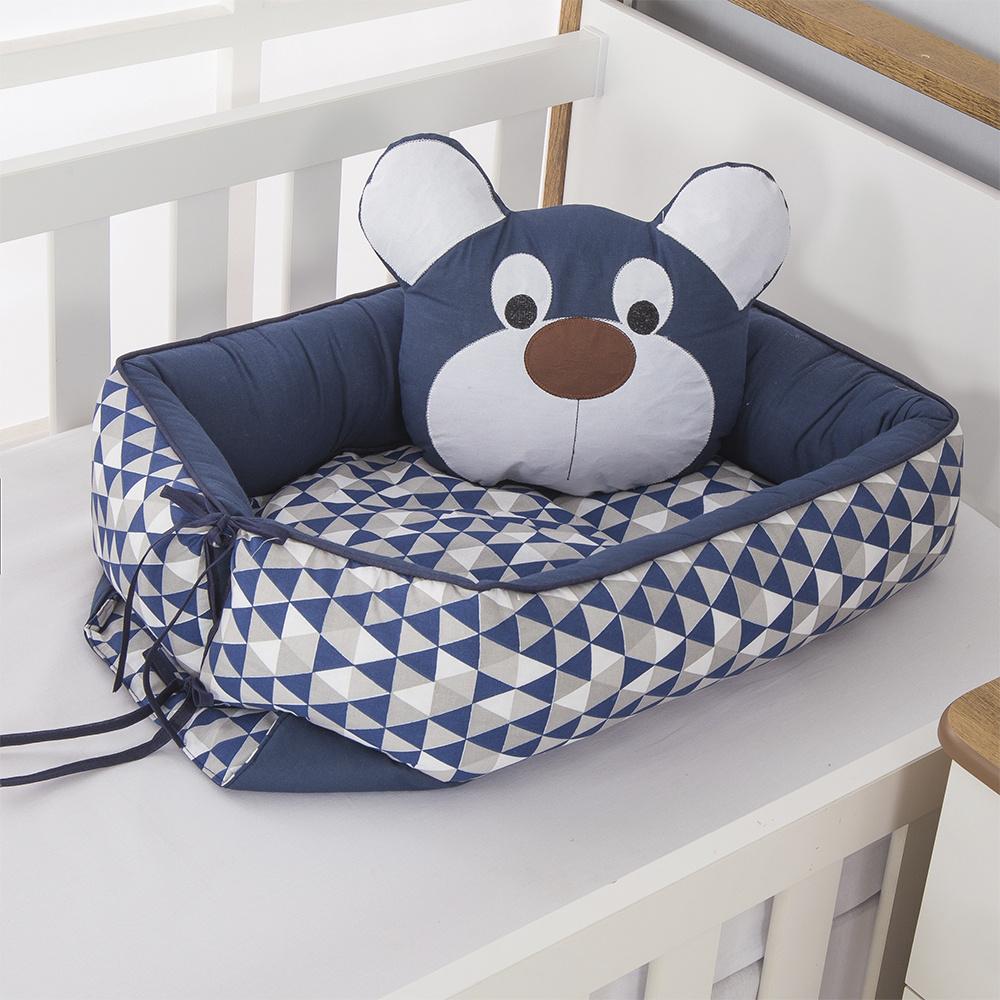 Ninho Para Bebê Redutor De Berco 02 Peças 70cm x 50cm 100% Algodão Menino Urso Dengoso - Azul Marinho