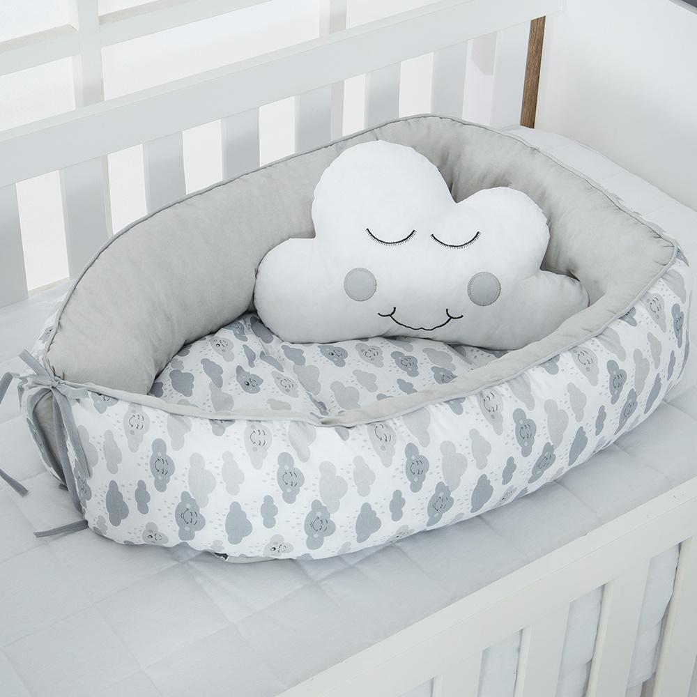 Ninho Para Bebê Redutor De Berco 02 Peças 70cm x 50cm 100% Algodão  Nuvem - Cinza