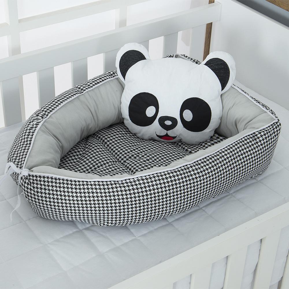 Ninho Para Bebê Redutor De Berco 02 Peças 70cm x 50cm 100% Algodão Panda - Cinza