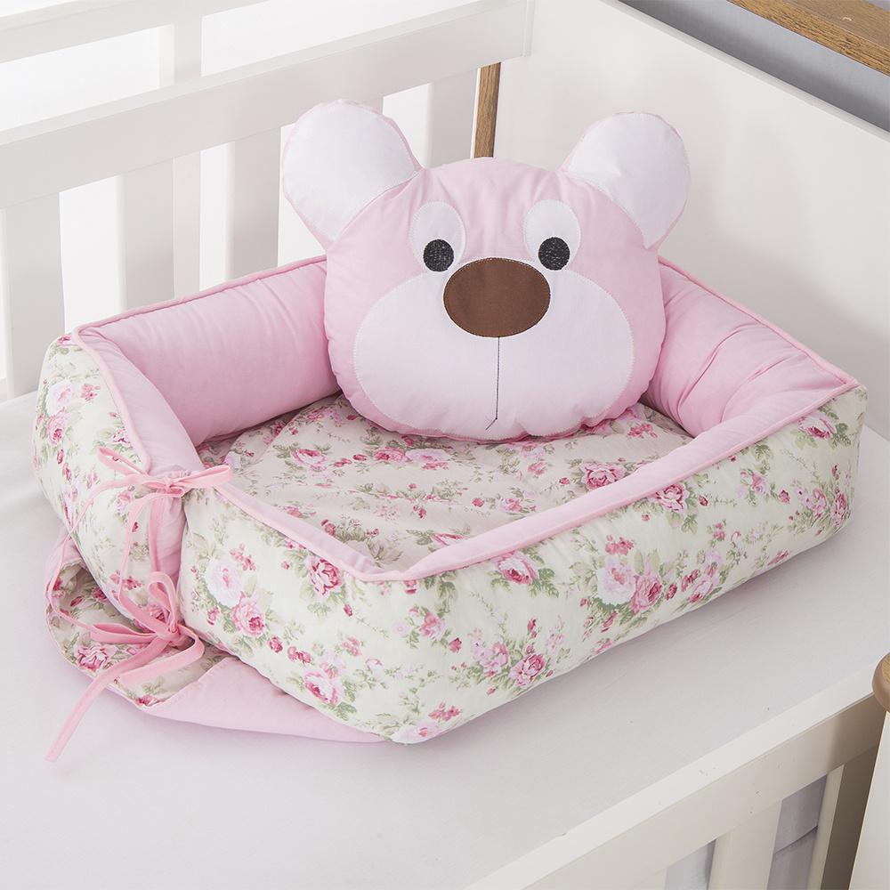 Ninho Para Bebê Redutor De Berco 02 Peças 70cm x 50cm 100% Algodão  Ursa Dengosa - Rosa