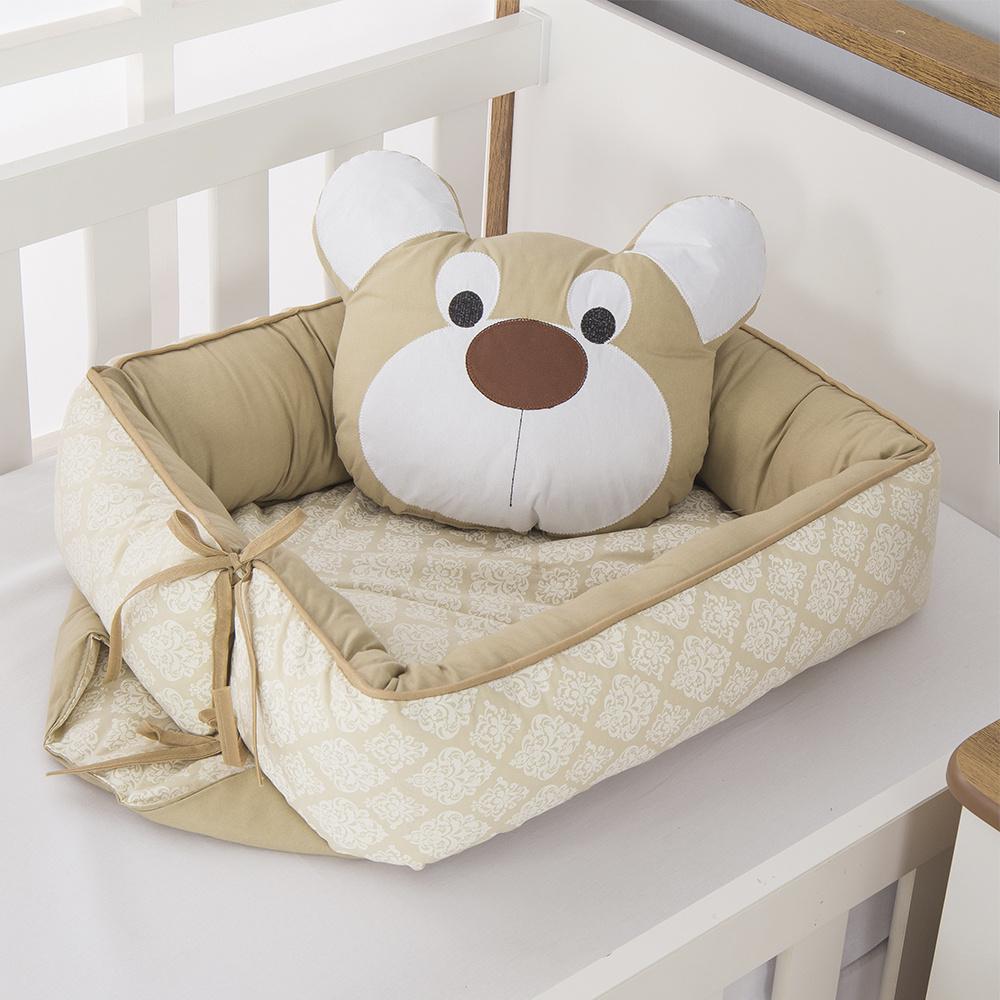 Ninho Para Bebê Redutor De Berco 02 Peças 70cm x 50cm 100% Algodão  Urso Dengoso - Cáqui