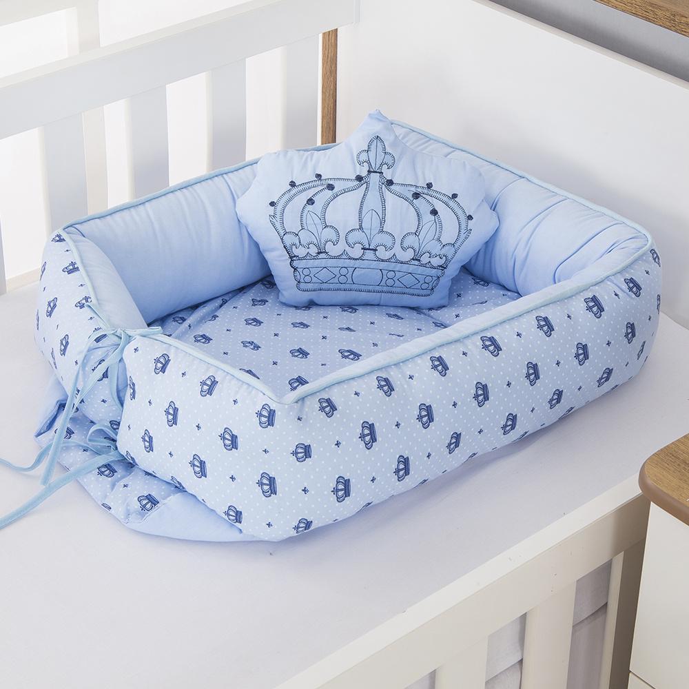 Ninho Para Bebê Redutor De Berco 02 Peças 70cm x 50cm 100% Algodão Menino Coroa Imperial - Azul Claro