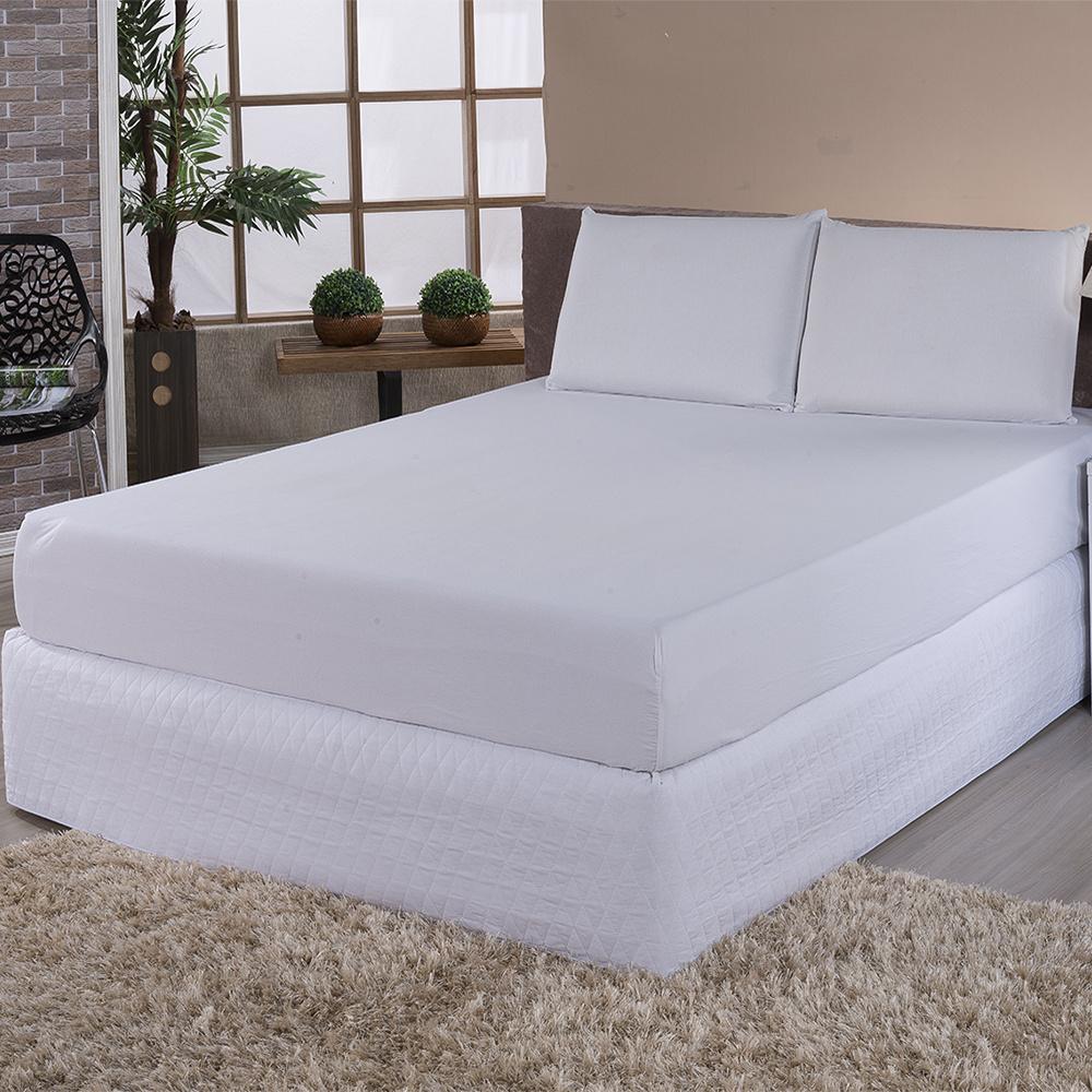 Protetor De Colchão Impermeável 100% PVC Solteiro Simples - Branco