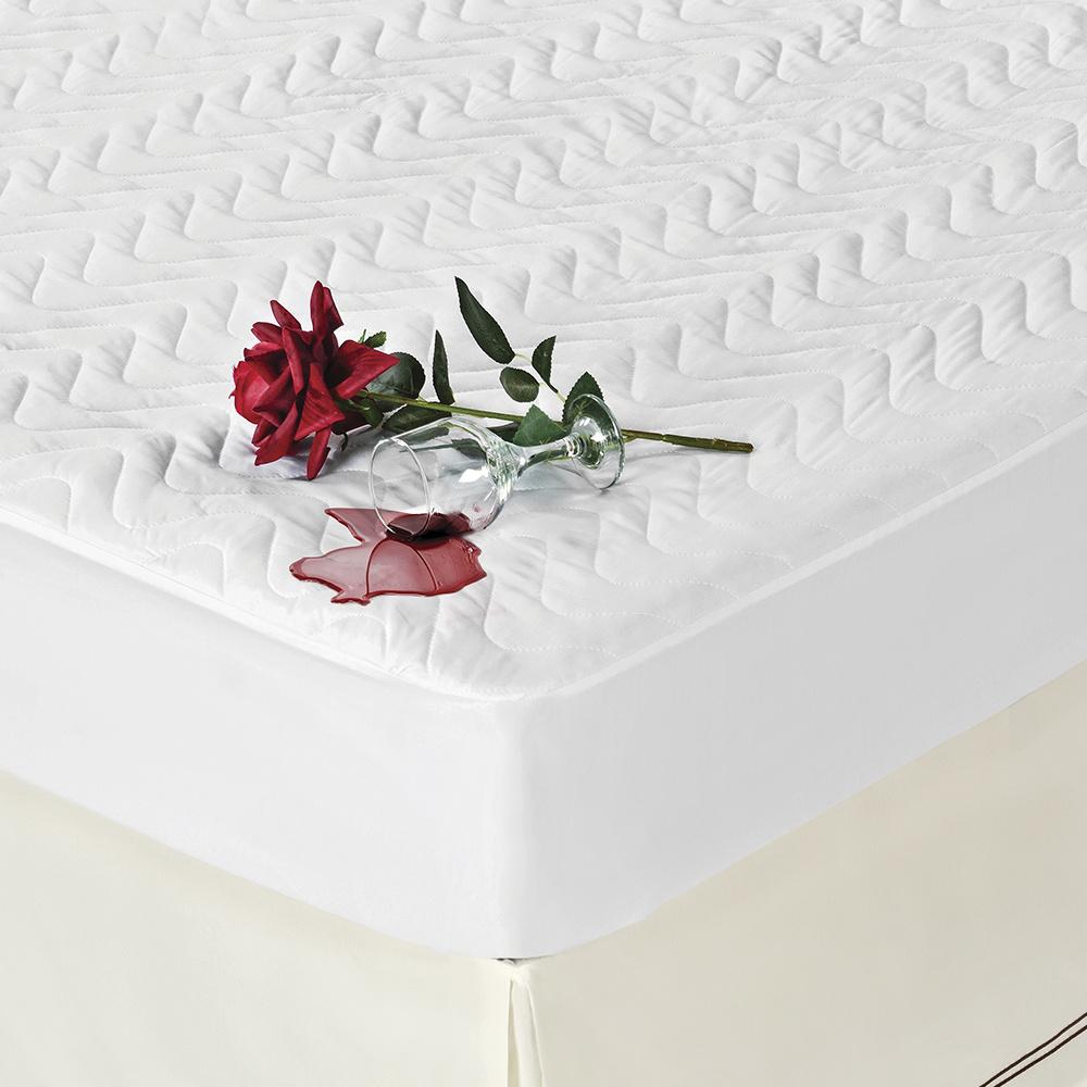 Protetor De Colchão Impermeável Microfibra Matelado Para Cama Viúva/Solteirão De 1,28m - Branco