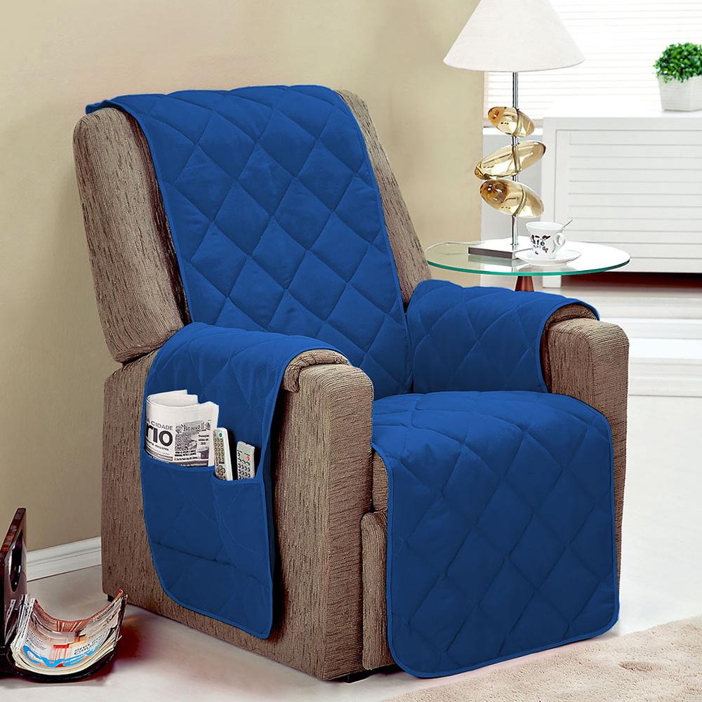 Protetor De Sofá Microfibra Matelado Para Poltrona Com Assento De 50CM - Azul