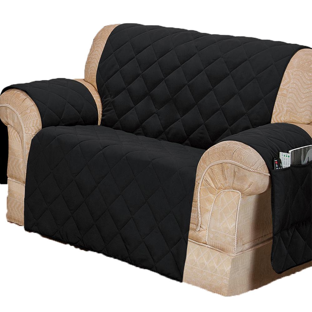 Protetor Para Sofá De 02 Lugares Com Assento De 1,05M Microfibra Matelado - Preto