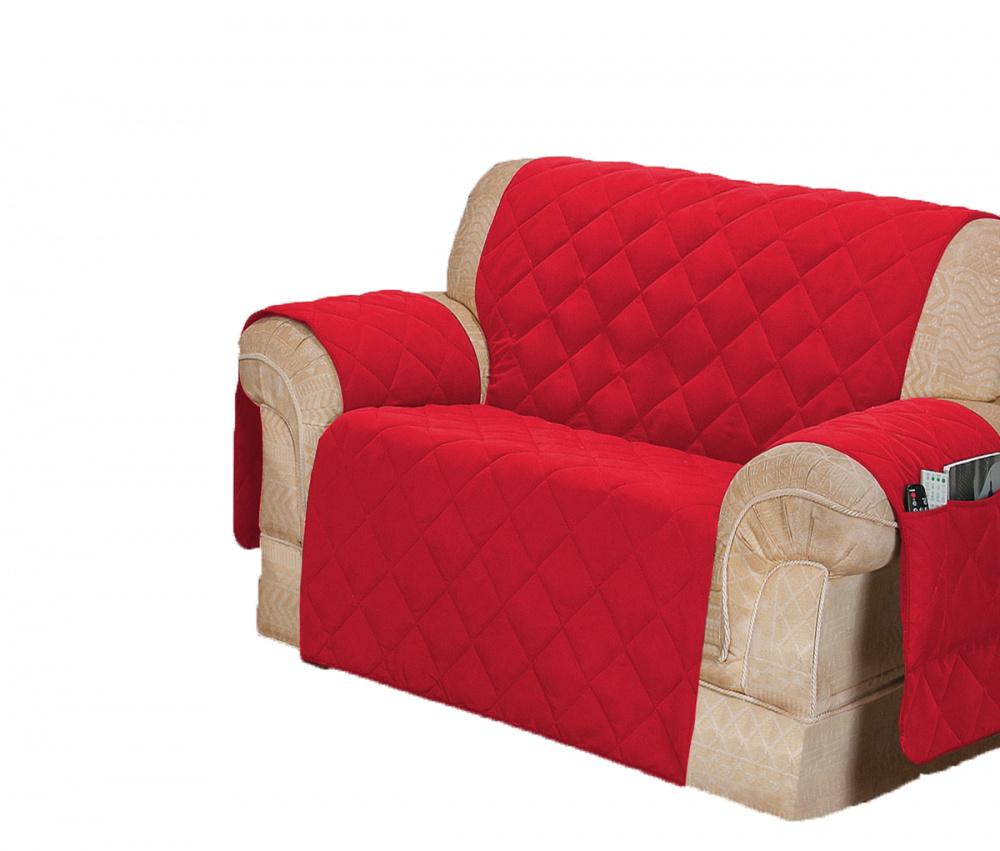 Protetor Para Sofá De 02 Lugares Com Assento De 1,05M Microfibra Matelado - Vermelho