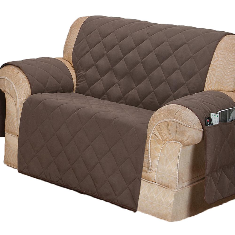 Protetor Para Sofá De 02 Lugares Com Assento De 1,10M Microfibra Matelado - Tabaco