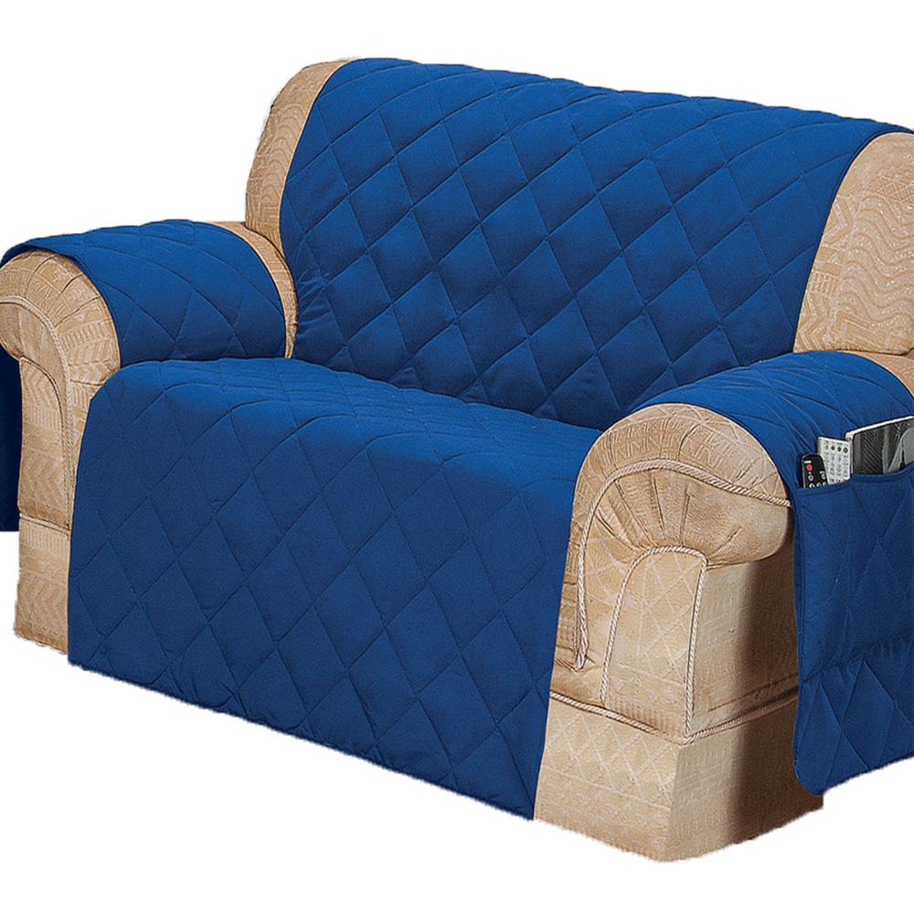 Protetor Para Sofá De 02 Lugares Com Assento De 90CM Microfibra Matelado - Azul