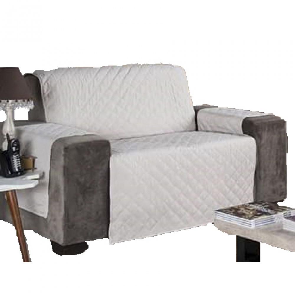 Protetor Para Sofá De 02 Lugares Com Assento De 90CM Microfibra Matelado - Palha