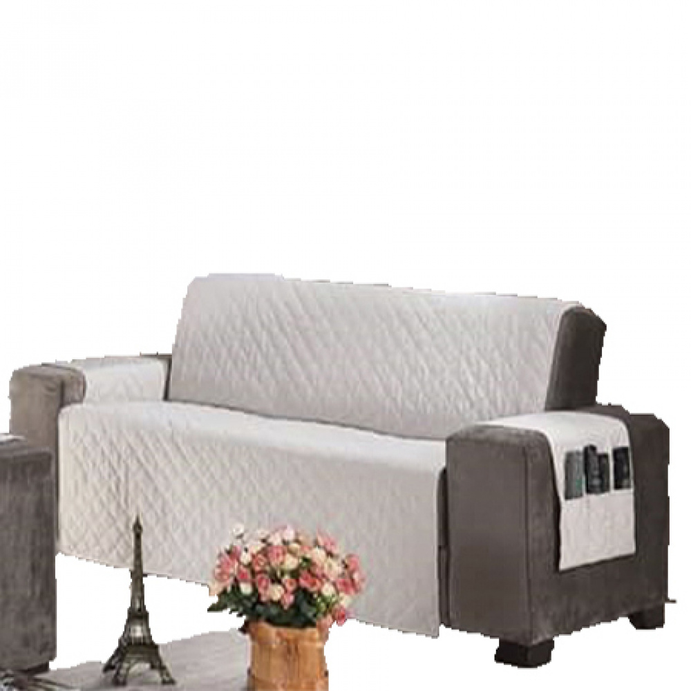 Protetor Para Sofá De 03 Lugares Com Assento De 1,60M Microfibra Matelado - Palha