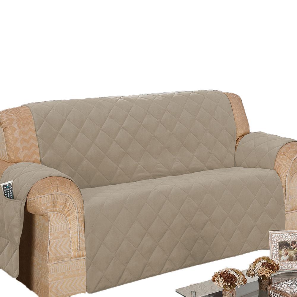 Protetor Para Sofá De 04 Lugares Com Assento De 2,10M Microfibra Matelado - Cáqui