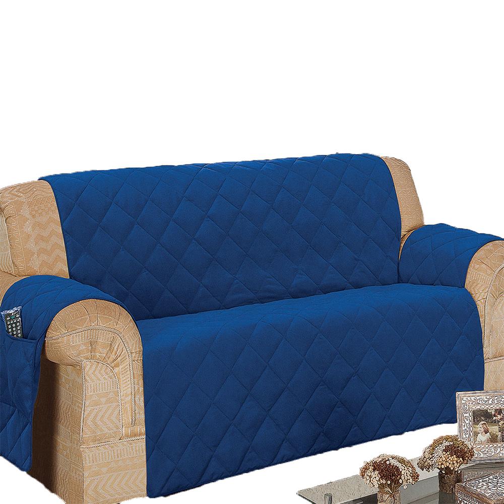 Protetor Para Sofá De 04 Lugares Com Assento De 2,40M Microfibra Matelado - Azul