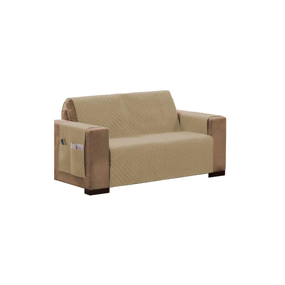 Protetor Para Sofá Impermeável De 04 Lugares Com Assento De 2,20M Matelado Ultrassônico - Caqui