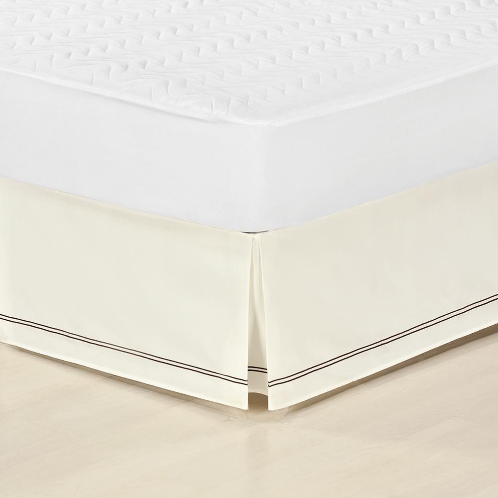 Saia Para Cama Box Inteiriça Com Detalhe Sutache Microfibra Casal Padrão - Palha