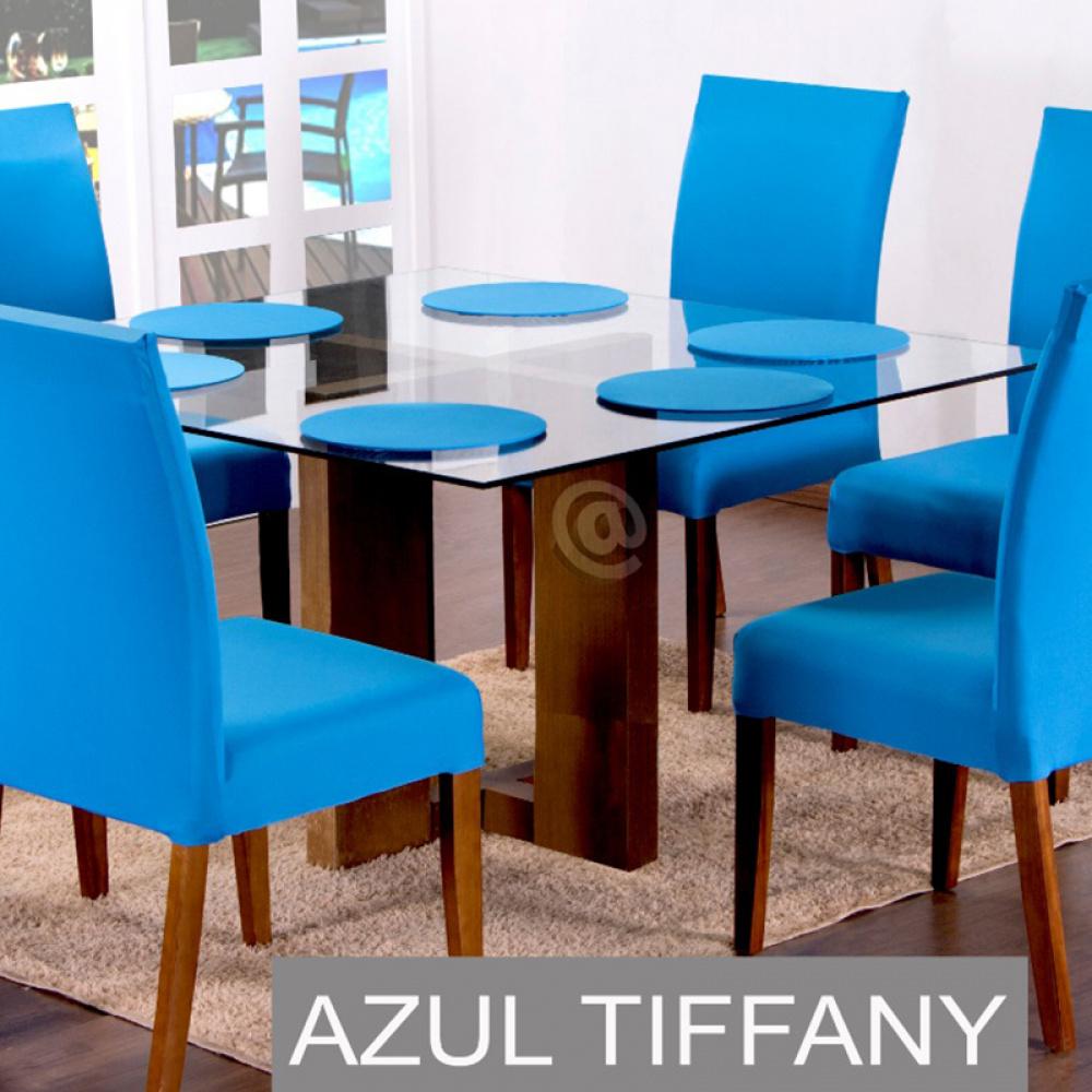 Sousplat Com Base MDF E Capas Com Elástico 35cm x 35cm Em Malha Gel Lisa Kit 04 Peças - Azul Tiffany