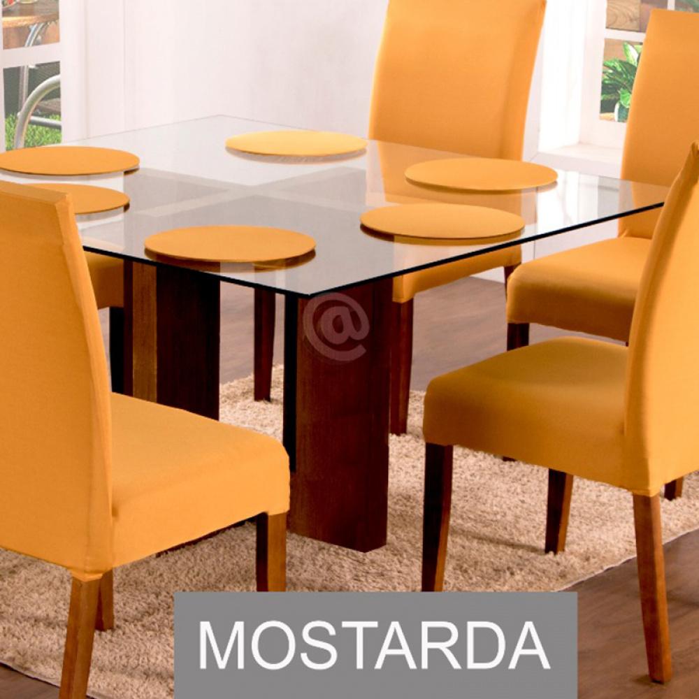 Sousplat Com Base MDF E Capas Com Elástico 35cm x 35cm Em Malha Gel Lisa Kit 04 Peças - Mostarda