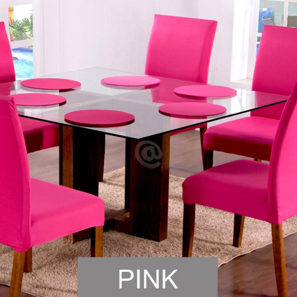 Sousplat Com Base MDF E Capas Com Elástico 35cm x 35cm Em Malha Gel Lisa Kit 04 Peças - Pink