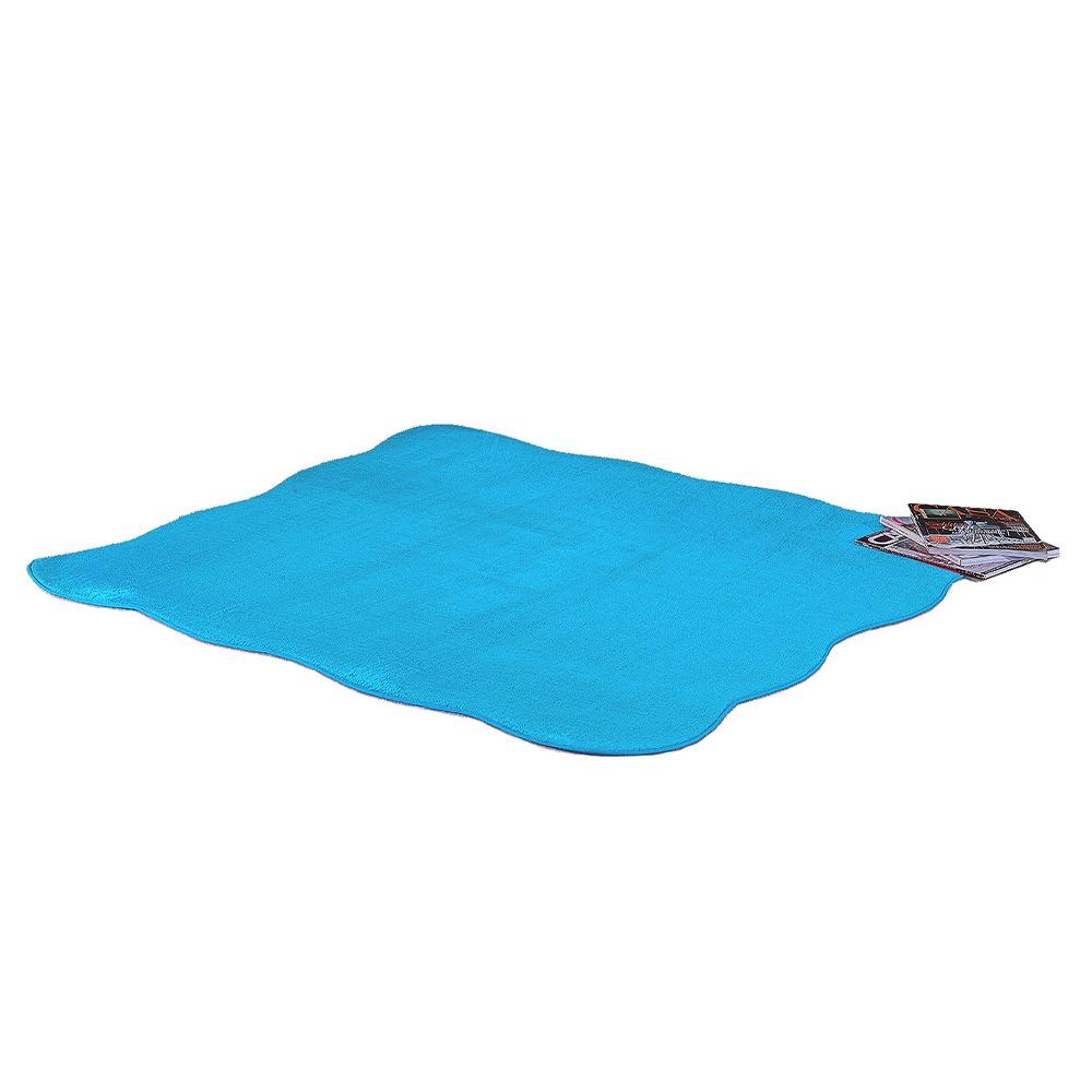 Tapete Ondulado De Sala E Quarto 1,33m x 1,33m Pelúcia - Azul Turquesa