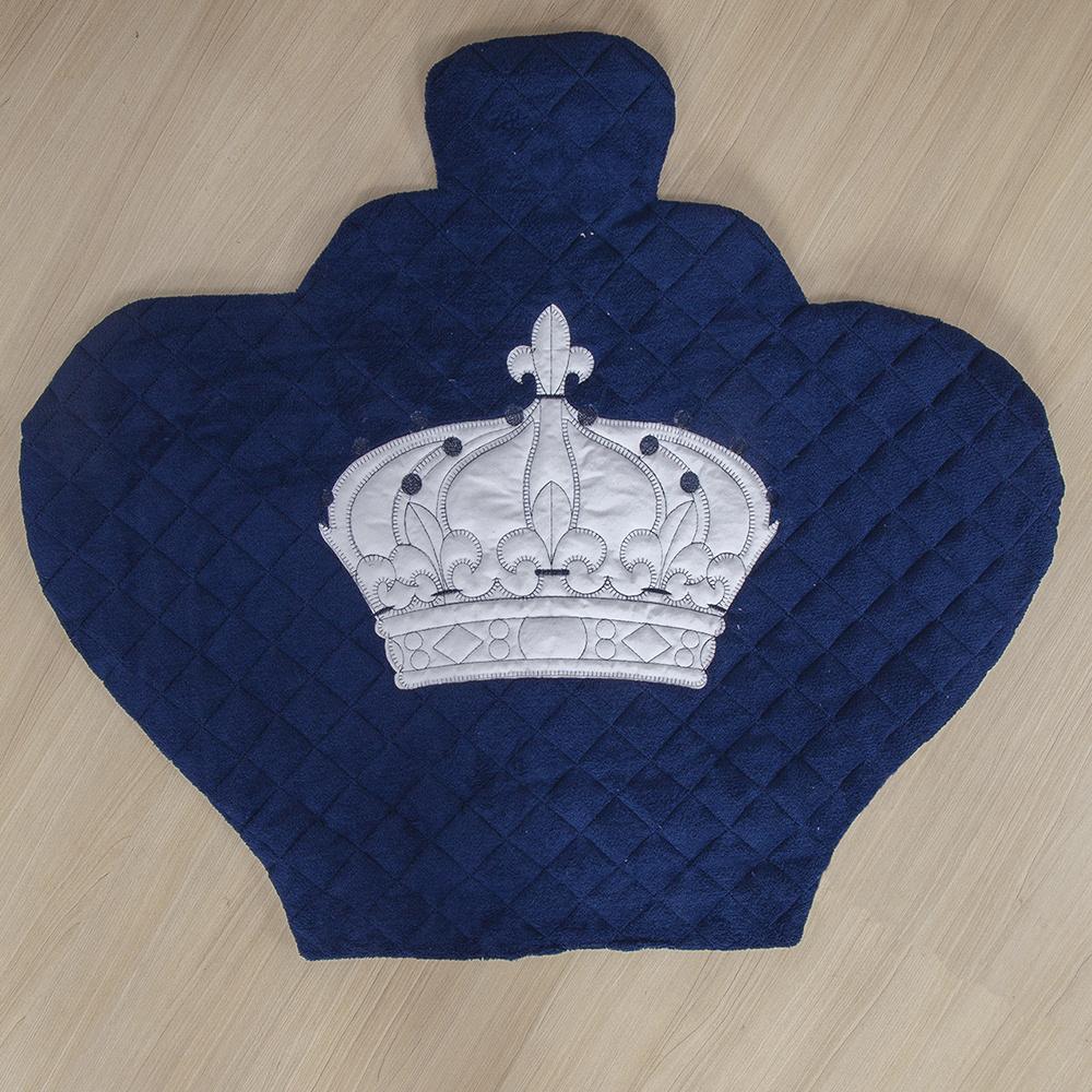 Tapete Para Quarto De Bebe 1,20m x 50cm  Formato Coroa  - Azul Marinho