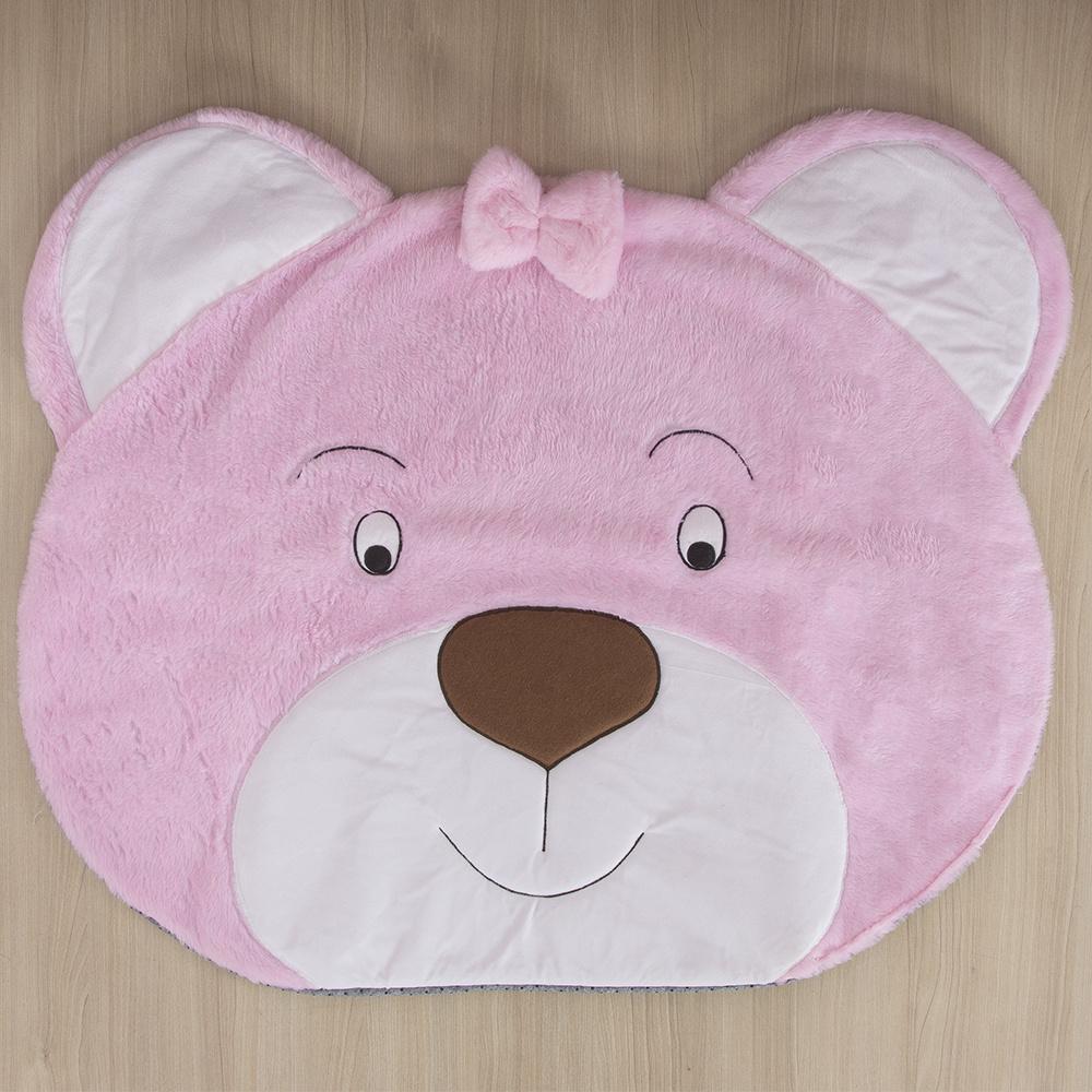 Tapete Para Quarto De Bebe 1,20m x 50cm  Formato Ursa  - Rosa