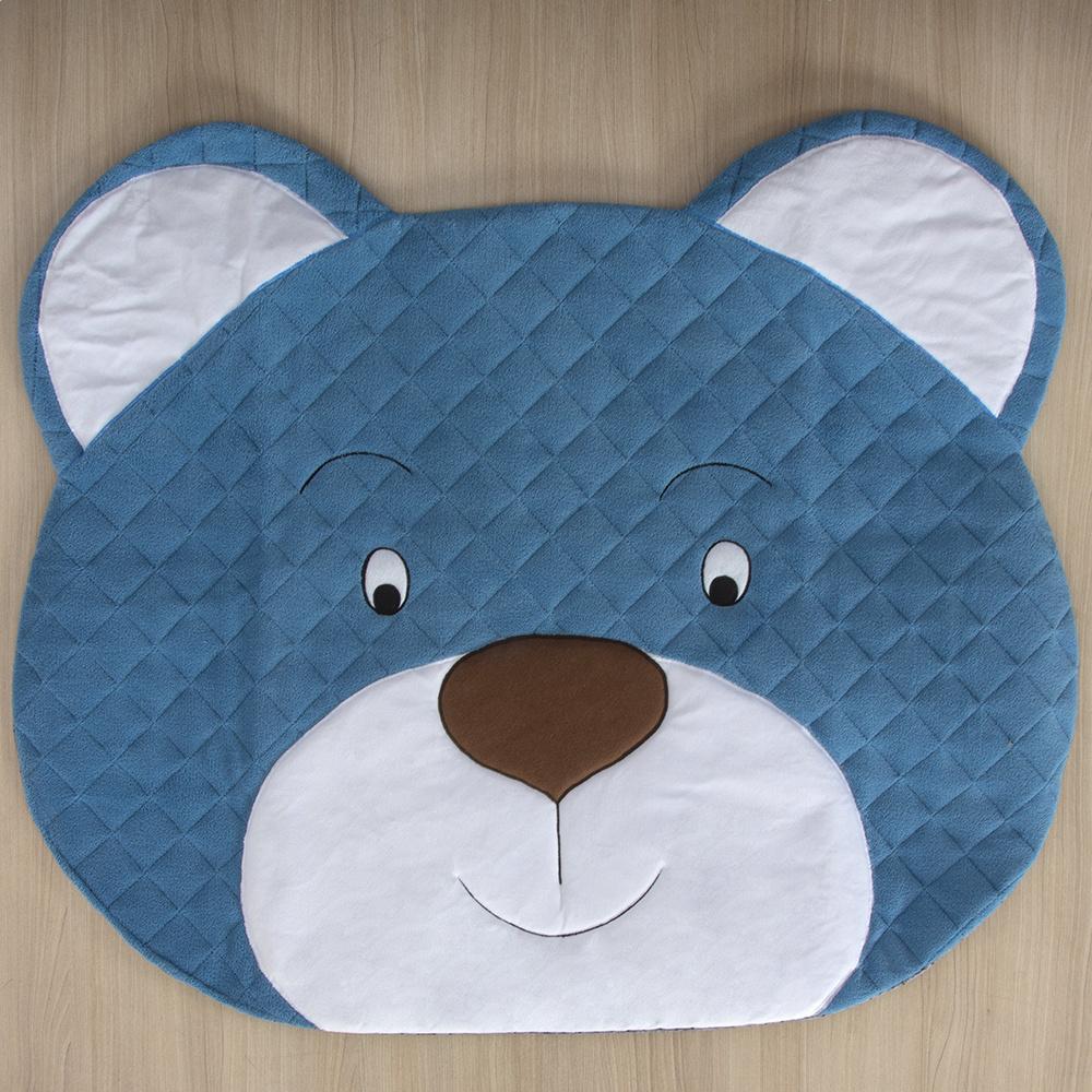 Tapete Para Quarto De Bebe 1,20m x 50cm  Formato Urso  - Azul