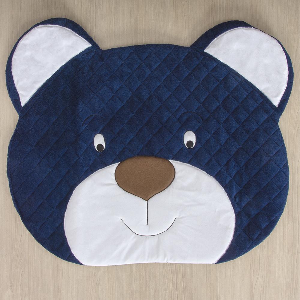 Tapete Para Quarto De Bebe 1,20m x 50cm  Formato Urso  - Azul Marinho