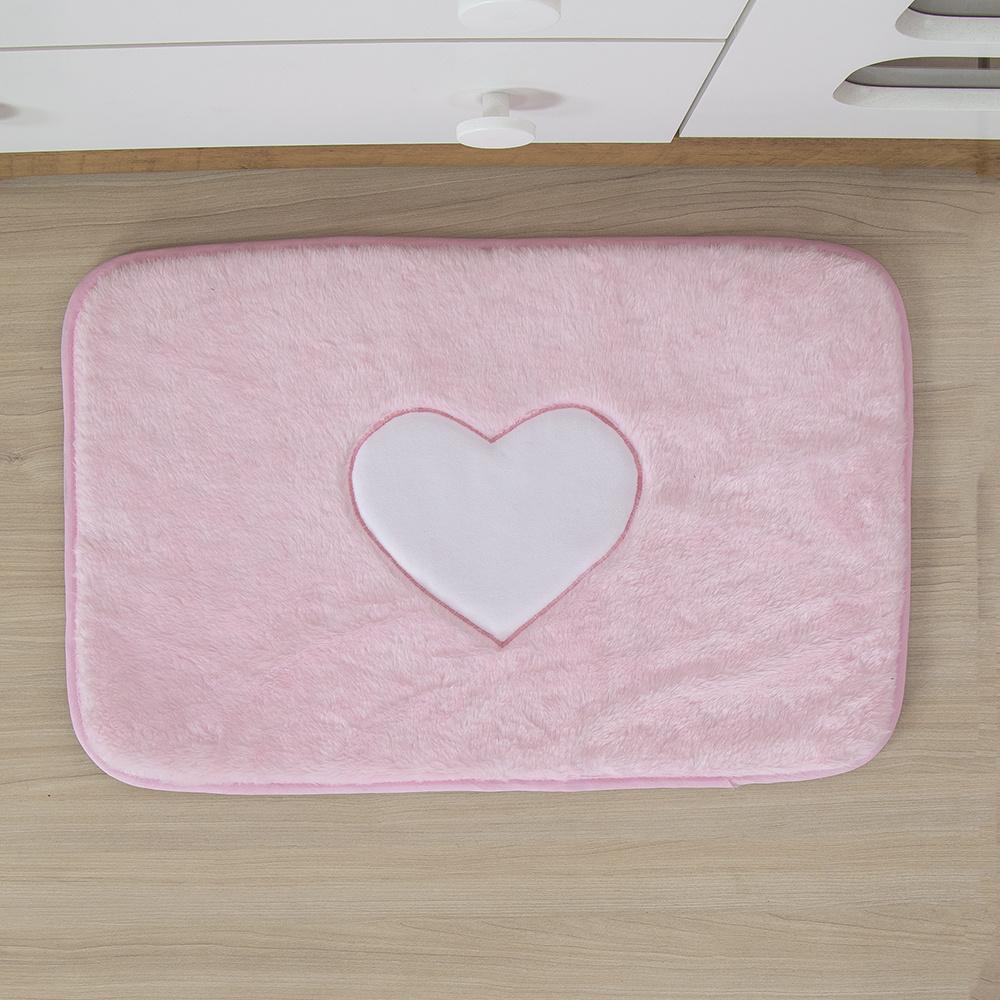 Tapete Para Quarto De Bebe 1,20m x 50cm  Formato Retangular  Coração - Rosa