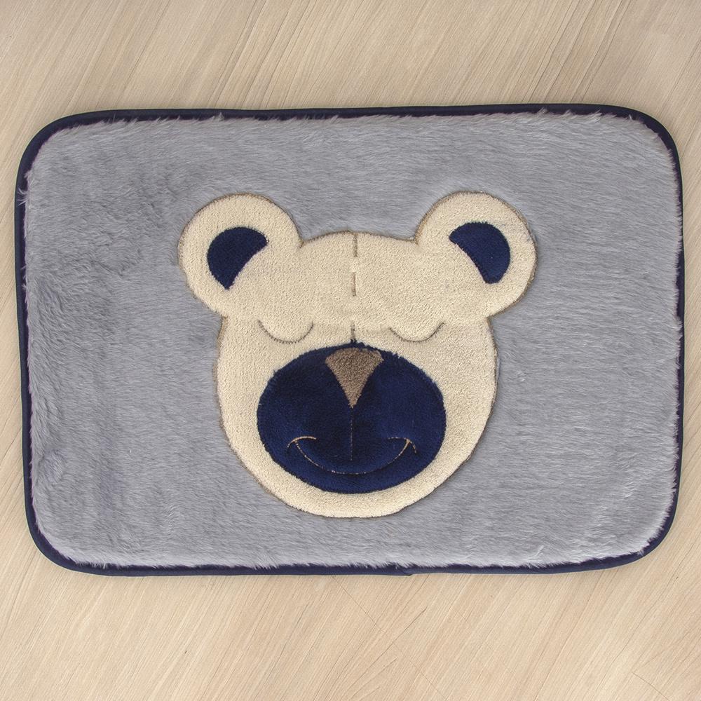 Tapete Para Quarto De Bebe 1,20m x 50cm Formato Retangular Urso - Azul Marinho