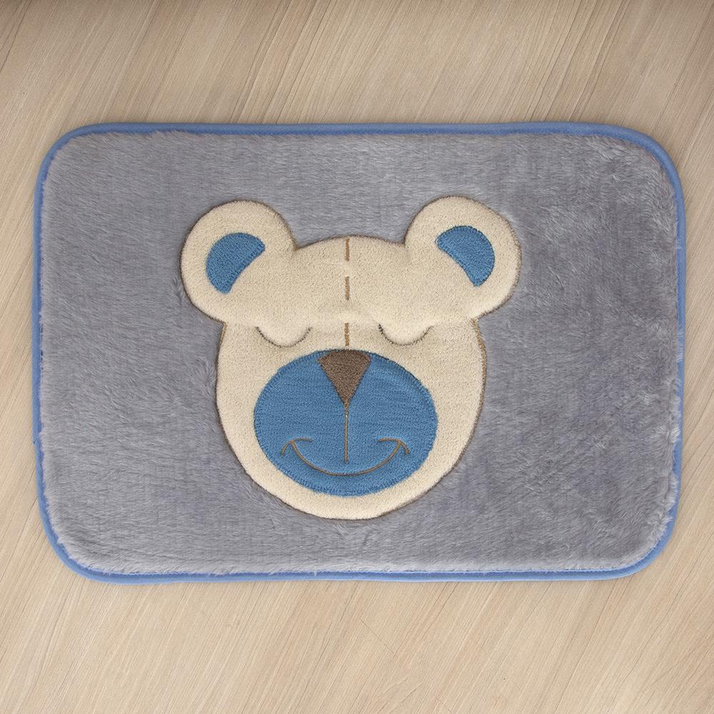 Tapete Para Quarto De Bebe 1,20m x 50cm Formato  Retangular Urso - Azul