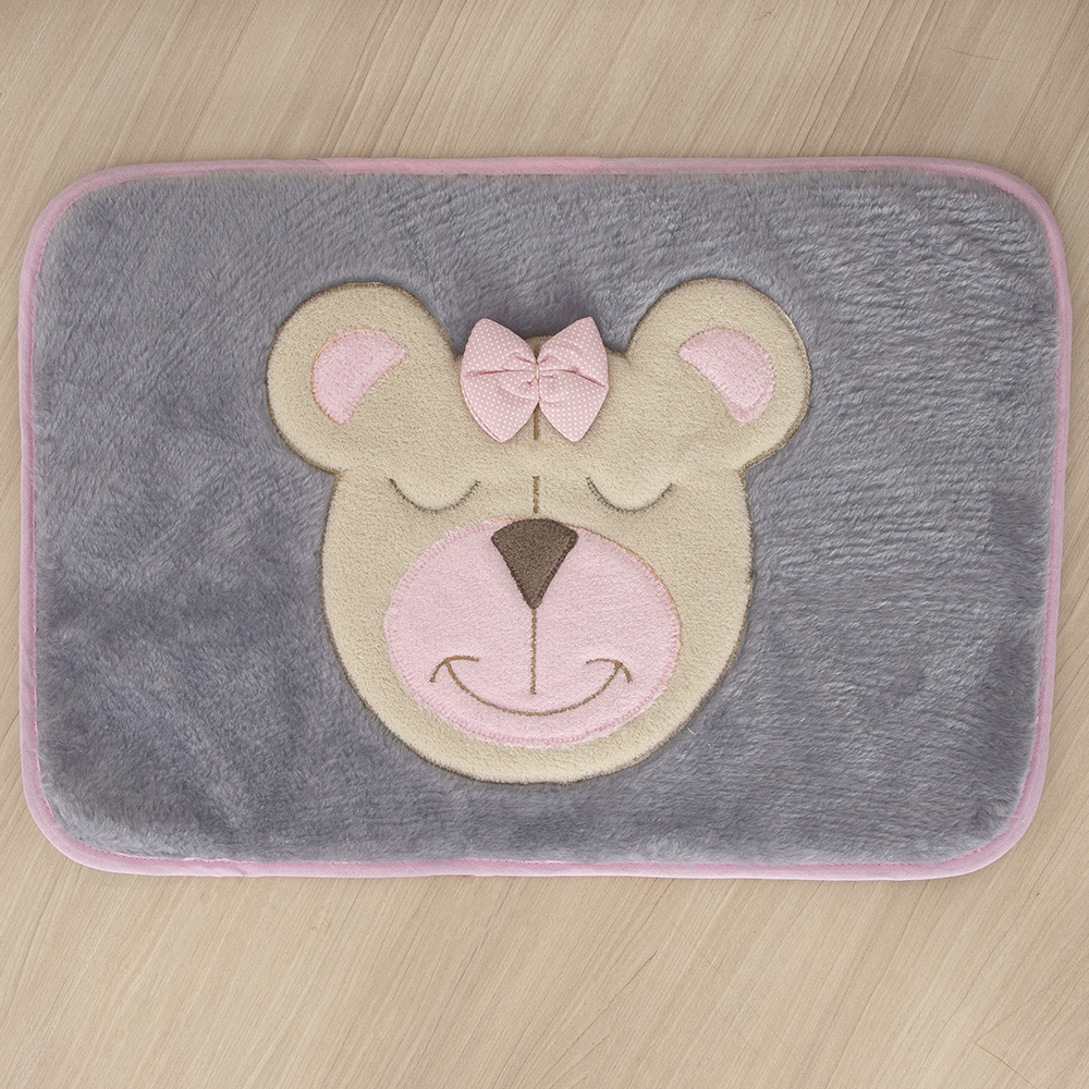 Tapete Para Quarto De Bebe 1,20m x 50cm Formato Retangular Ursa - Rosa