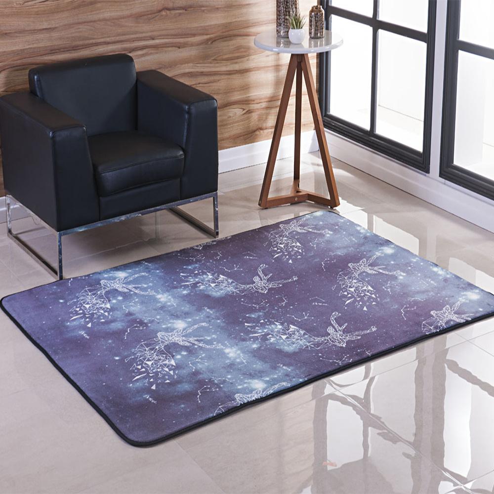 Tapete Para Sala E Quarto 2,00M X 2,40M Estampado Aveludado Com Base Guata - Constelação Galáxia