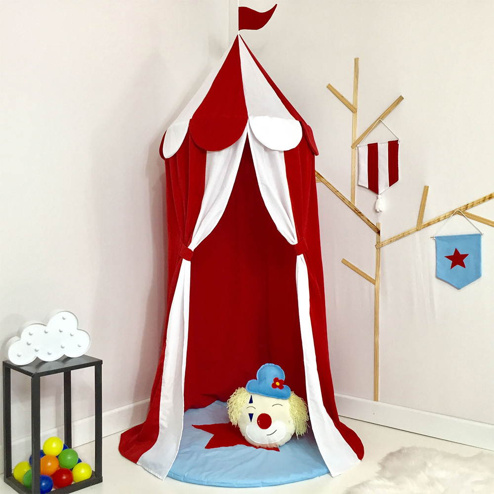 Tenda Infantil Grande 03 Peças Tecido Misto Circo - Vermelho