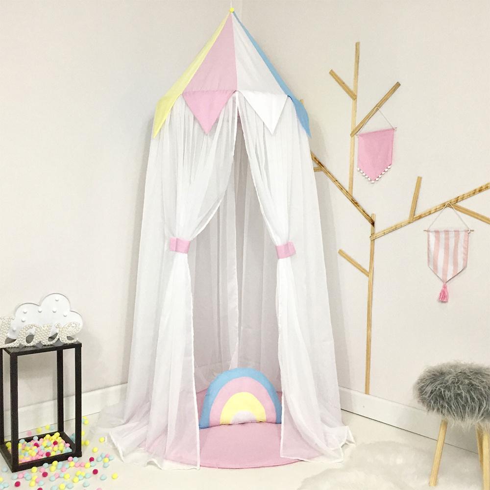 Tenda Infantil Grande Menina 03 Peças Tecido Misto Arco-Íris - Rosa
