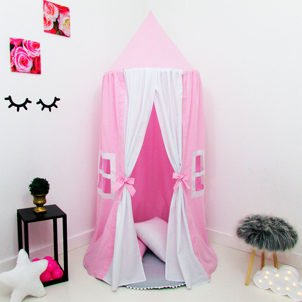 Tenda Infantil Grande Menina 03 Peças Tecido Misto Casinha de Boneca - Rosa