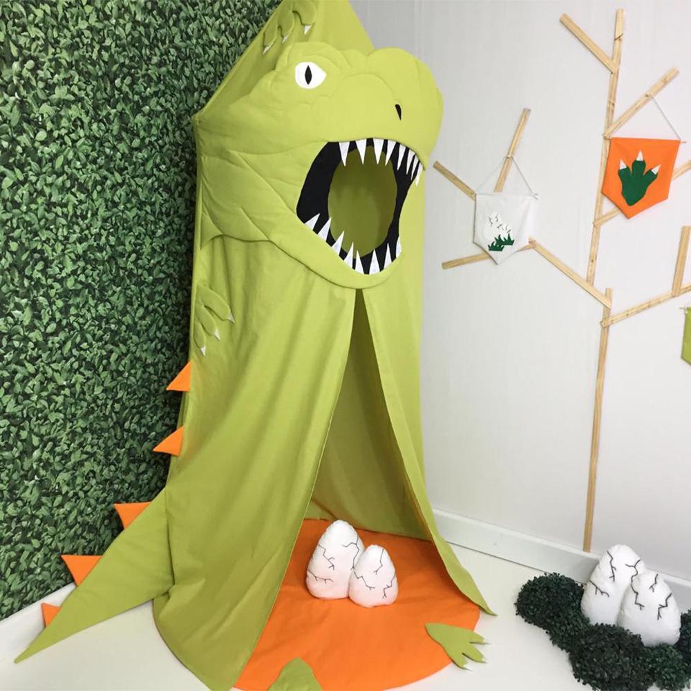 Tenda Infantil Grande Menino 04 Peças 100% Algodão Dinossauro - Verde