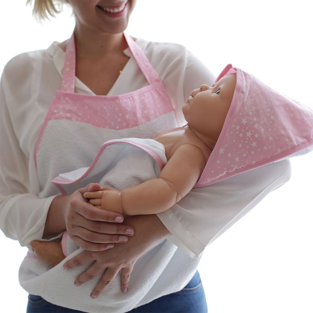 Toalha De Banho Avental Bebê Forrada 100% Algodão Com Capuz  - Estrela Rosa