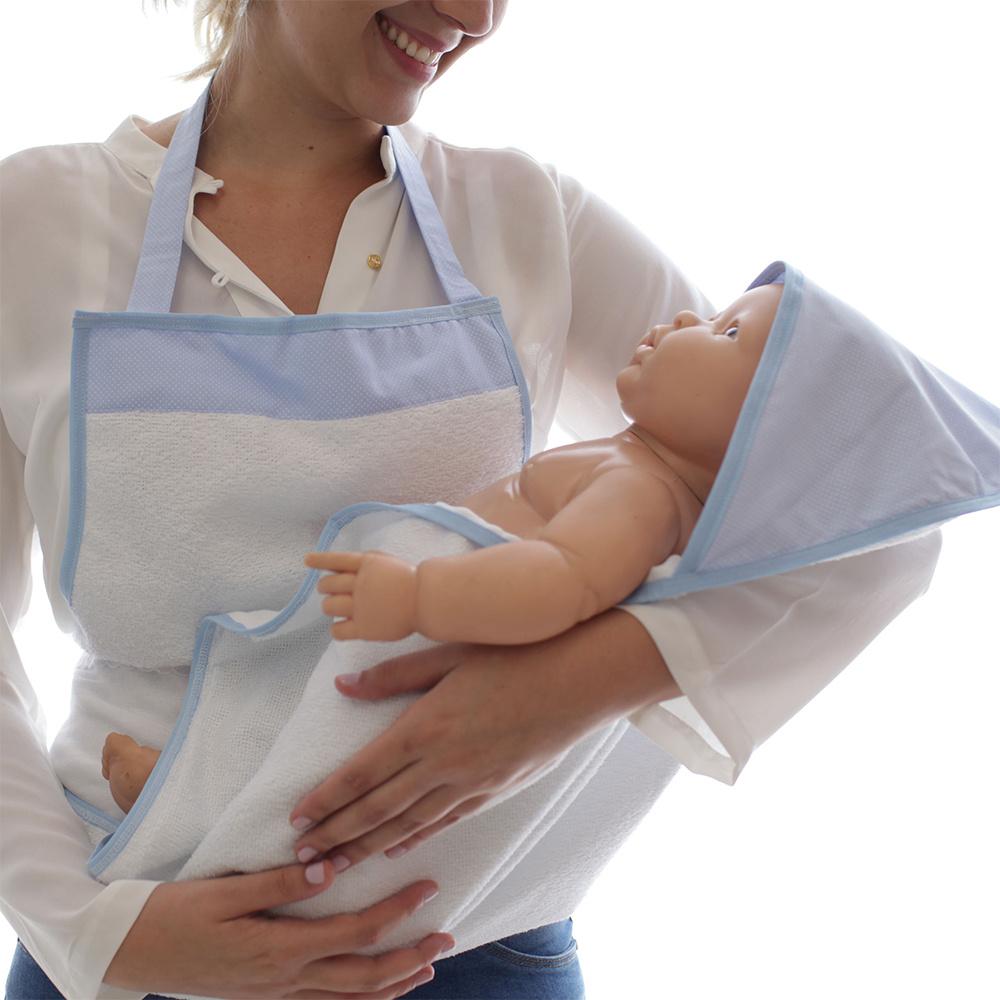 Toalha De Banho Avental Bebê Forrada 100% Algodão Com Capuz  - Poá Azul
