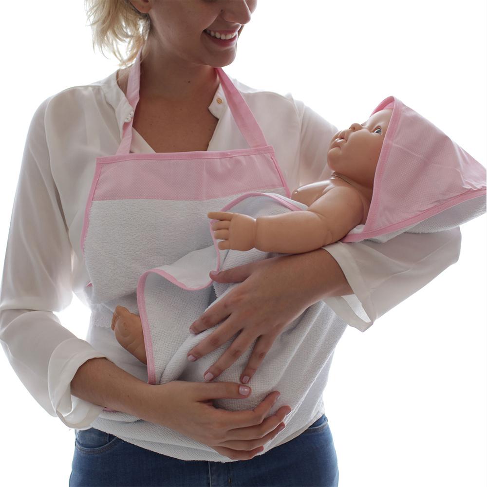 Toalha De Banho Avental Bebê Forrada 100% Algodão Com Capuz  - Poá Rosa