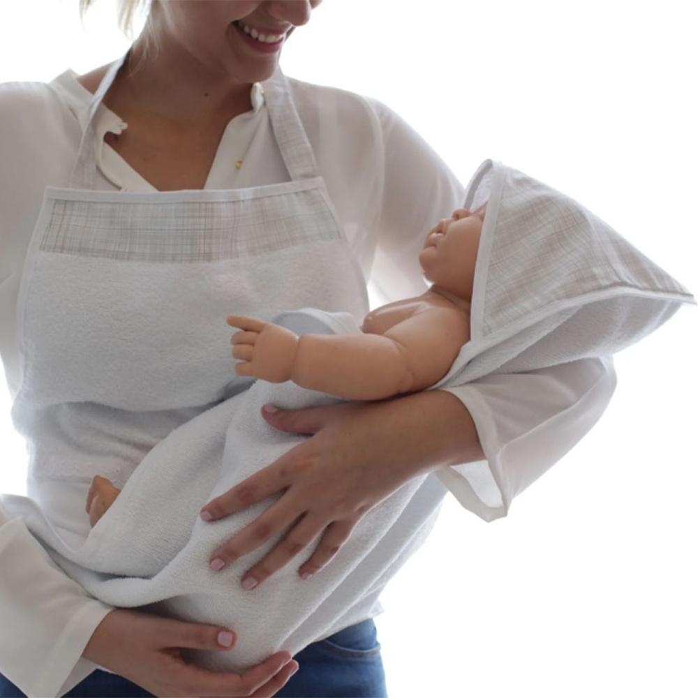 Toalha De Banho Avental Bebê Forrada 100% Algodão Com Capuz  - Xadrez Cinza