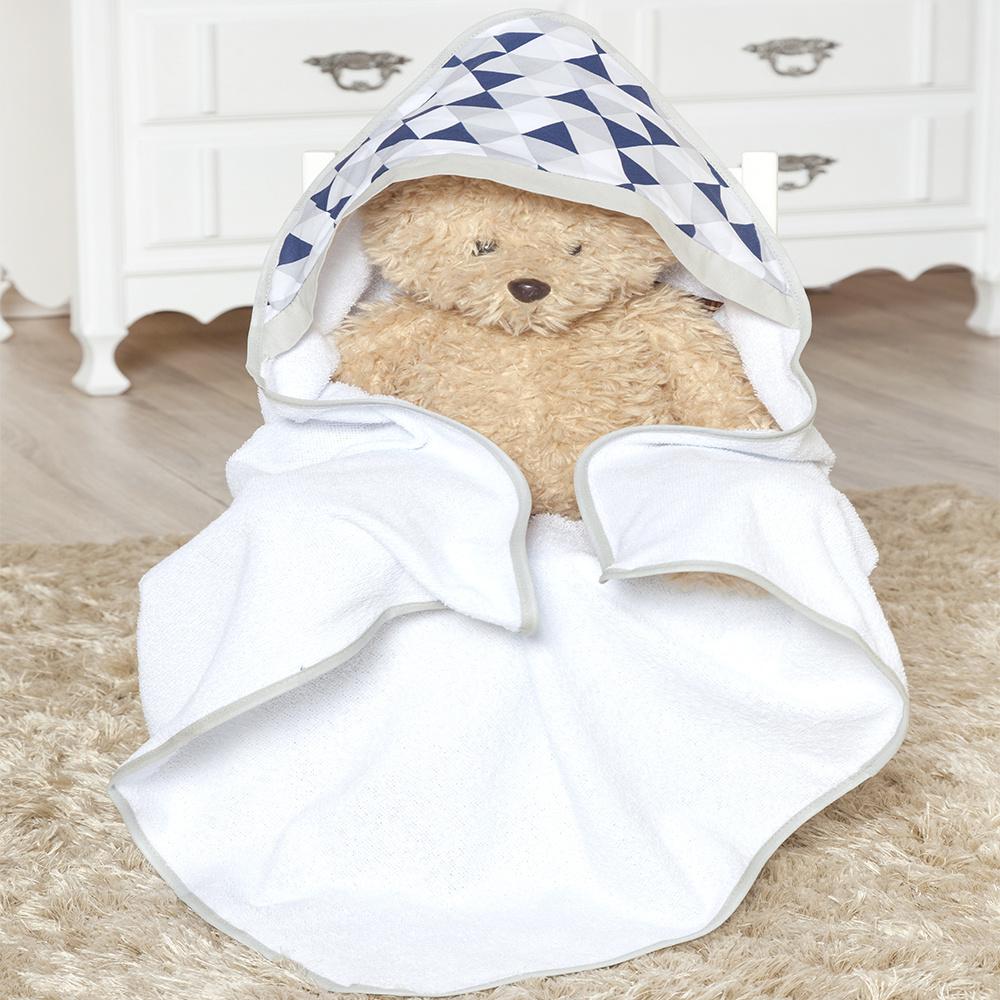 Toalha de banho bebê Com Capuz Tecido 100% Algodão Céu - Azul Marinho