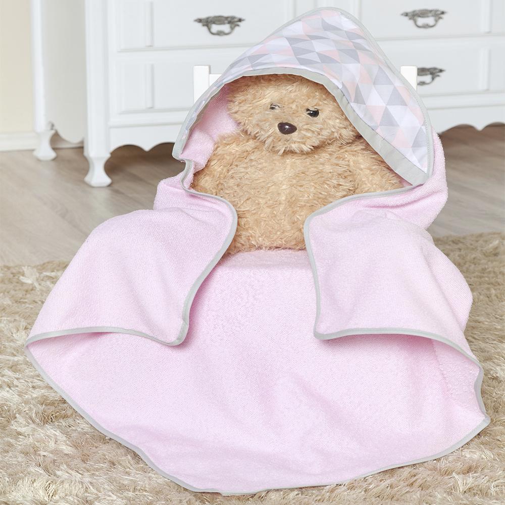 Toalha de banho bebê Com Capuz Tecido 100% Algodão Céu - Rosa
