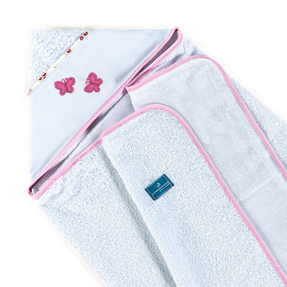 Toalha De Banho Bebê Com Capuz Tecido 100% Algodão Conforto - Borboleta