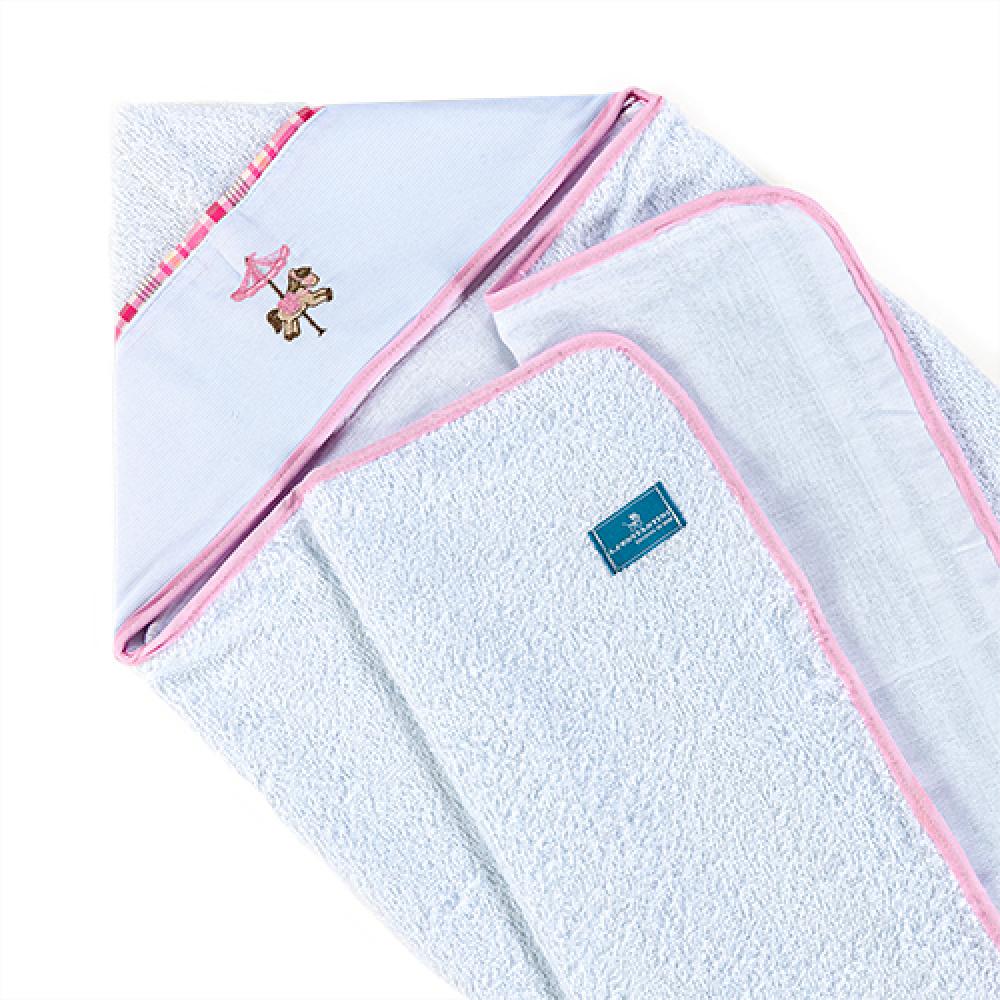 Toalha De Banho Bebê Com Capuz Tecido 100% Algodão Conforto - Carrossel Rosa
