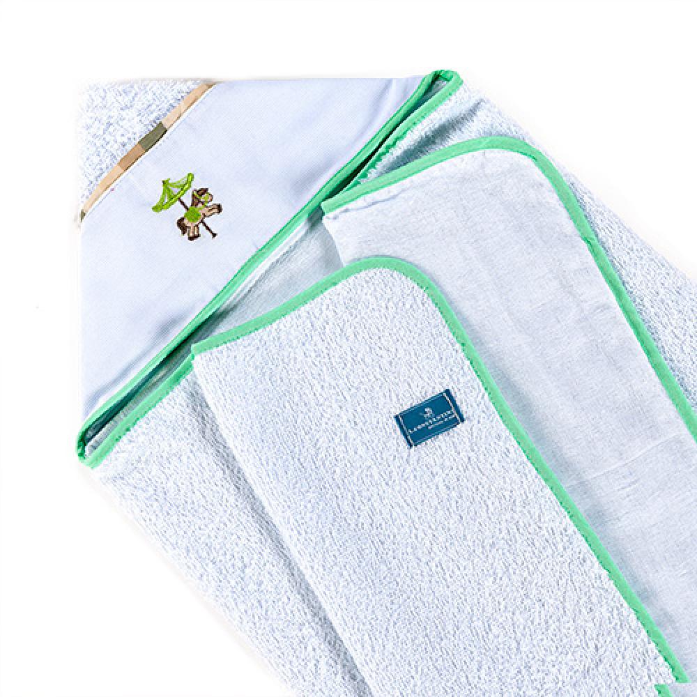Toalha De Banho Bebê Com Capuz Tecido 100% Algodão Conforto - Carrossel Verde