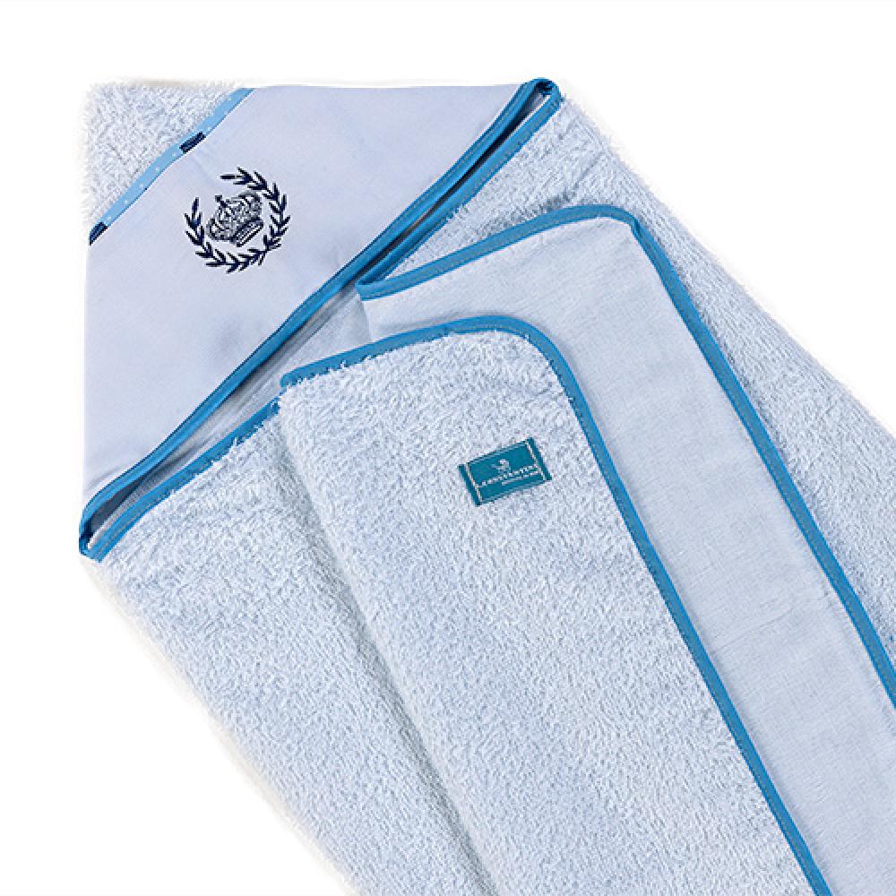 Toalha De Banho Bebê Com Capuz Tecido 100% Algodão Conforto - Coroa Azul