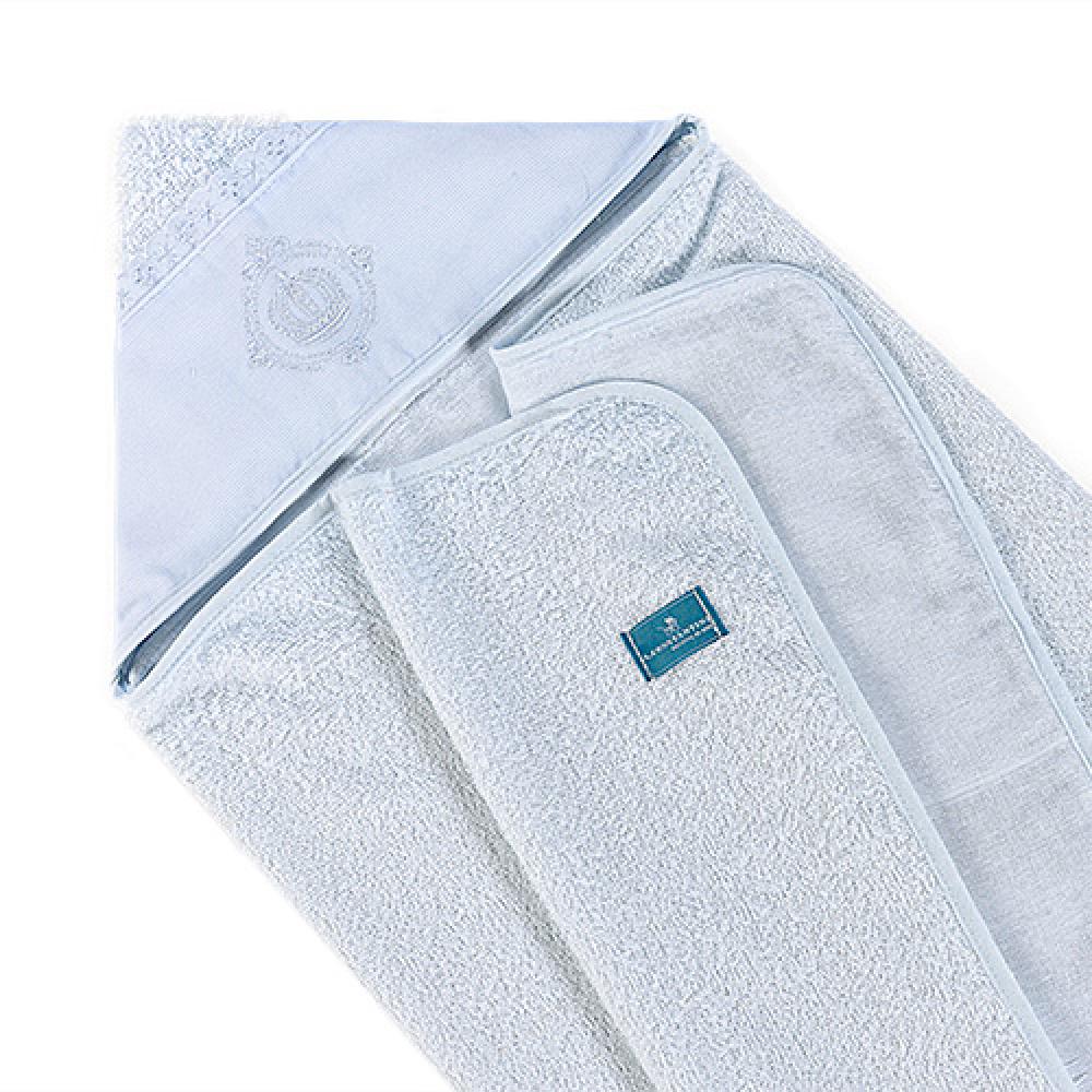 Toalha De Banho Bebê Com Capuz Tecido 100% Algodão Conforto - Coroa Branco