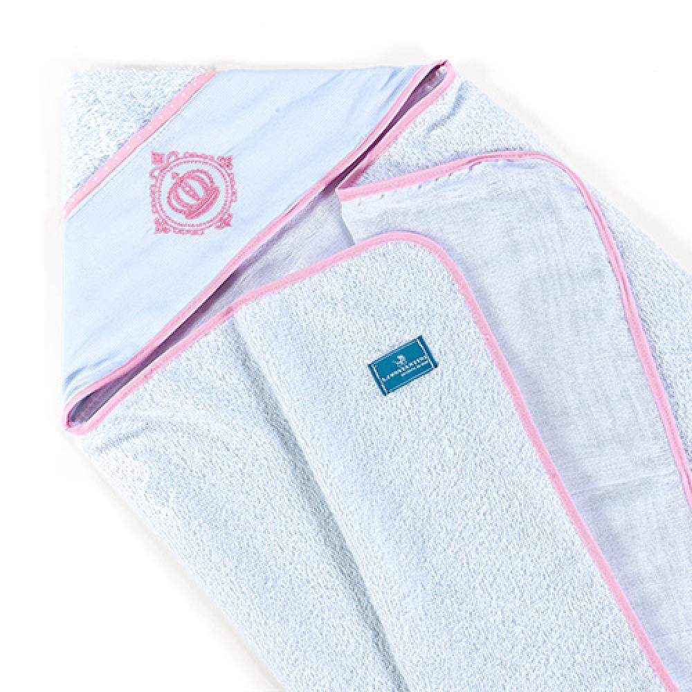 Toalha De Banho Bebê Com Capuz Tecido 100% Algodão Conforto - Coroa Rosa